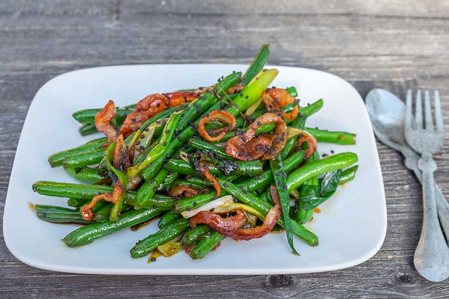 green beans with maple bacon and ginger