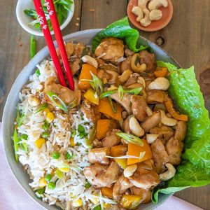 Gluten-Free Kung Pao Chicken with Easy Fried Rice