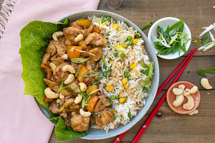 gluten-free Kung Pao Chicken with fried rice