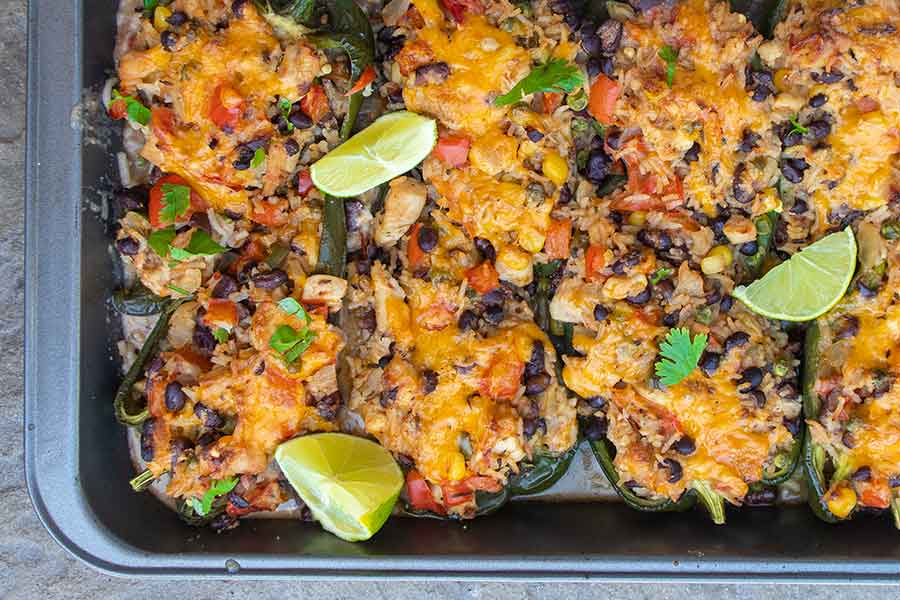 southwest chicken stuffed poblano peppers, gluten free