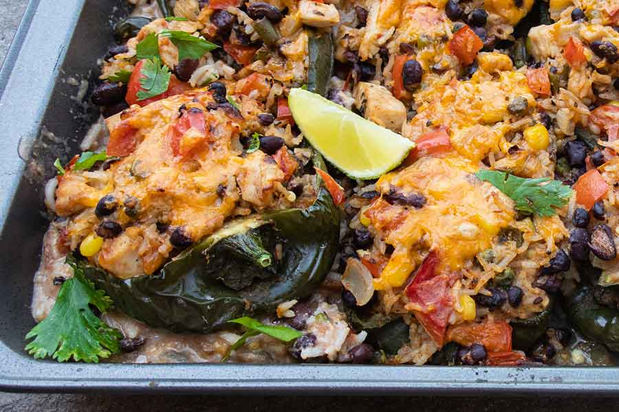 southwest chicken stuffed poblano peppers