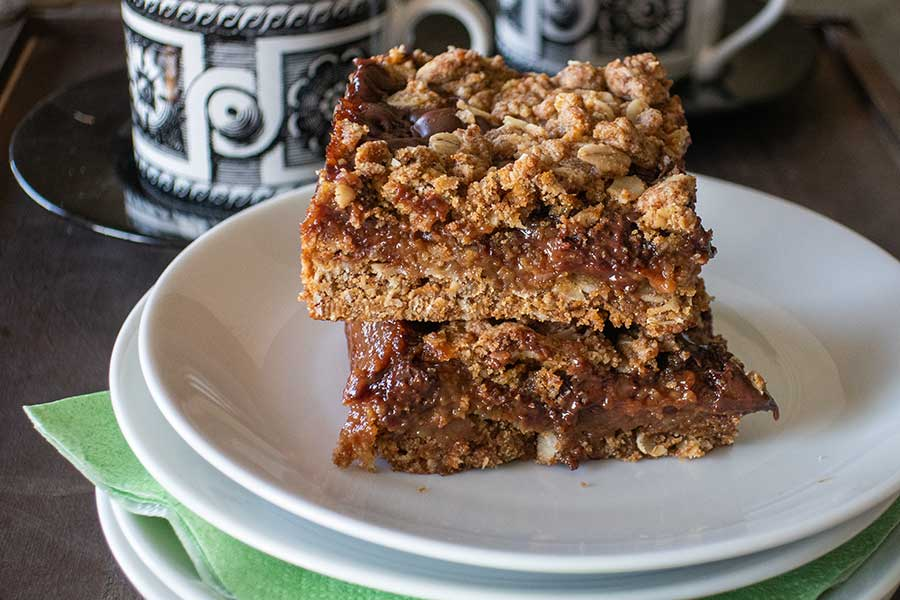 chocolate mocha oat bars, gluten free