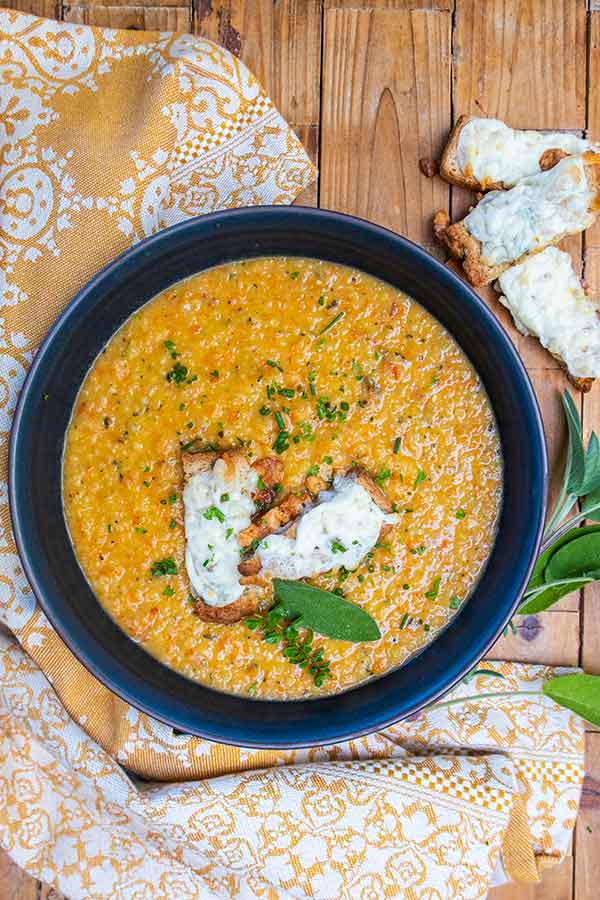 Easiest Roasted Vegetable Soup with Cheese Crostini