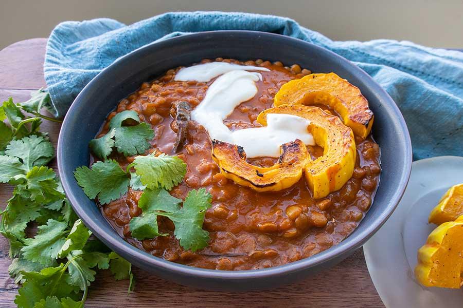 creamy lentils, vegan