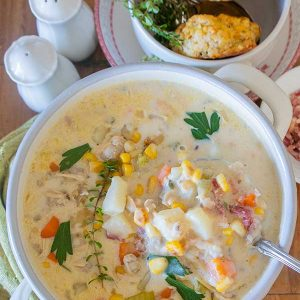 Clam Chowder with Charred Corn