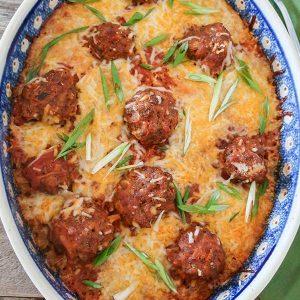 Simple Baked Italian Meatballs and Rice Casserole