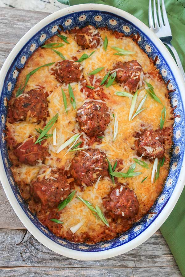 Simple Baked Italian Meatballs and Rice Casserole