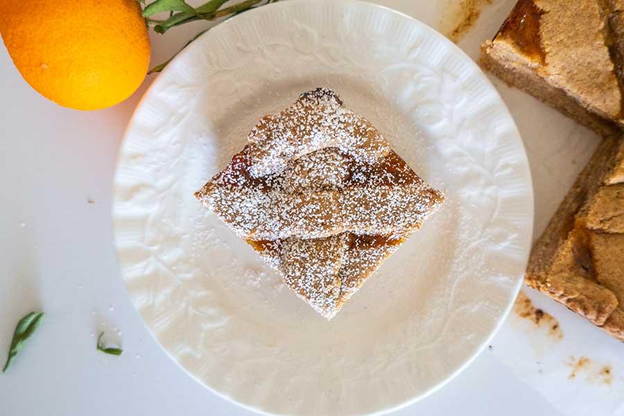 apricot linzer squares, gluten free