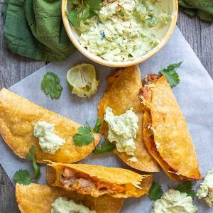 30 Minute Gluten-Free Crispy Carnitas Tacos with Avocado Yogurt Cream