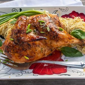 Honey Garlic Roasted Chicken with Basil Butter Noodles