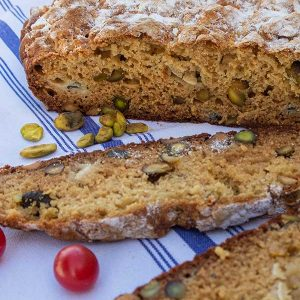 Gluten-Free Blue Cheese Pistachio Soda Bread