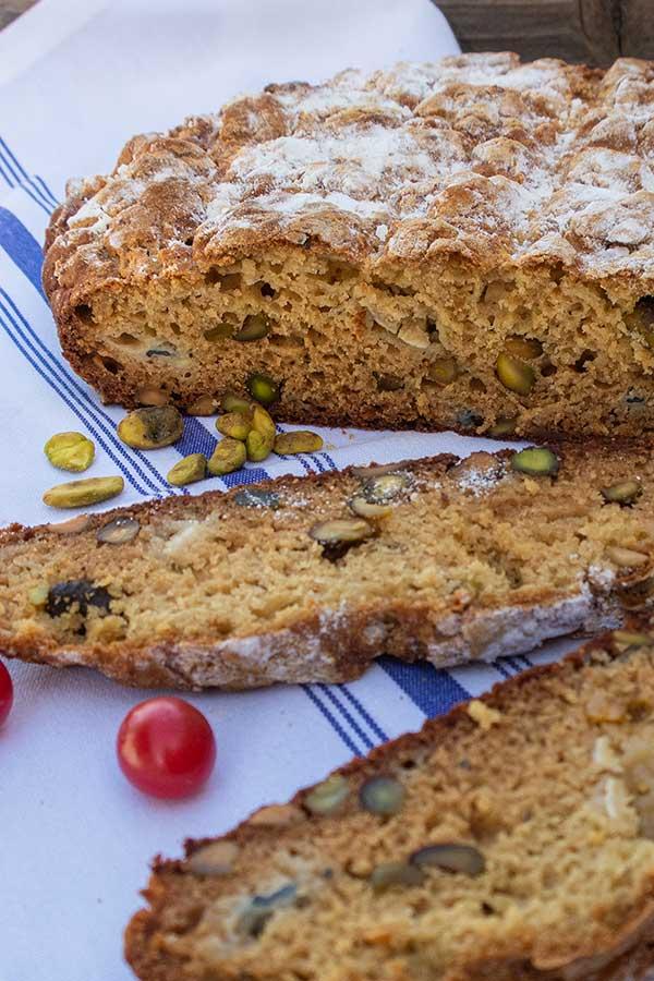 Gluten-Free Blue Cheese Pistachio Soda Bread