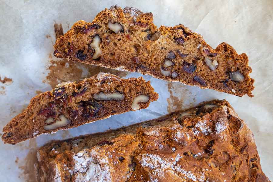 cranberry walnut honey bread, gluten free