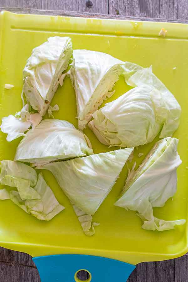 green cabbage wedges