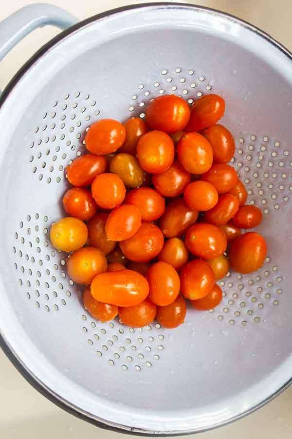 gluten-free flatbread, cherry tomatoes