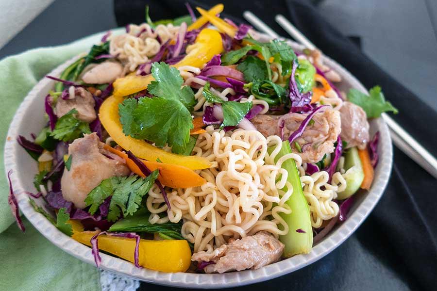 chicken ramen noodle salad, gluten free