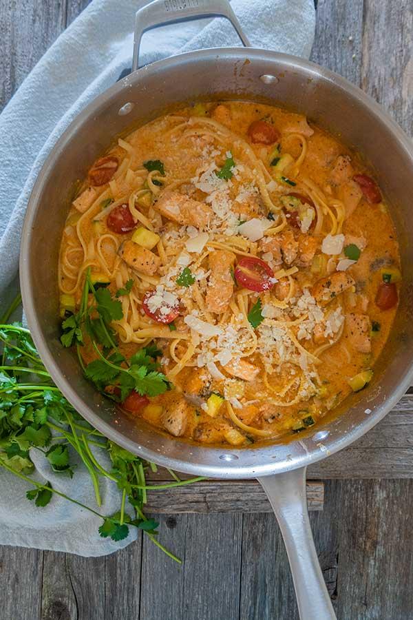 creamy salmon pasta dinner, gluten free