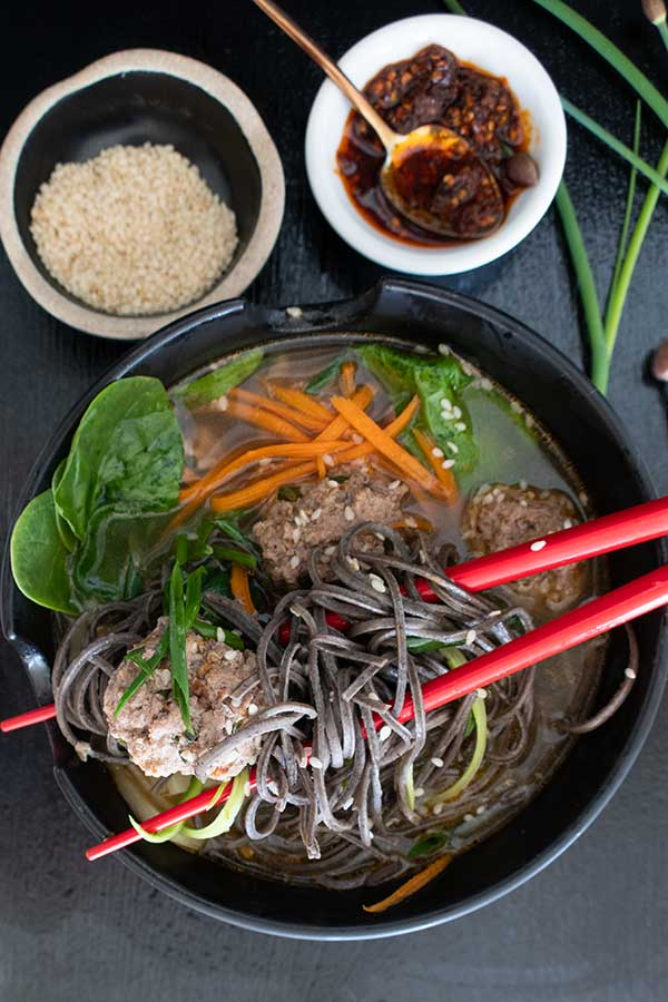 Miso Noodle Soup with Meatballs – Gluten Free