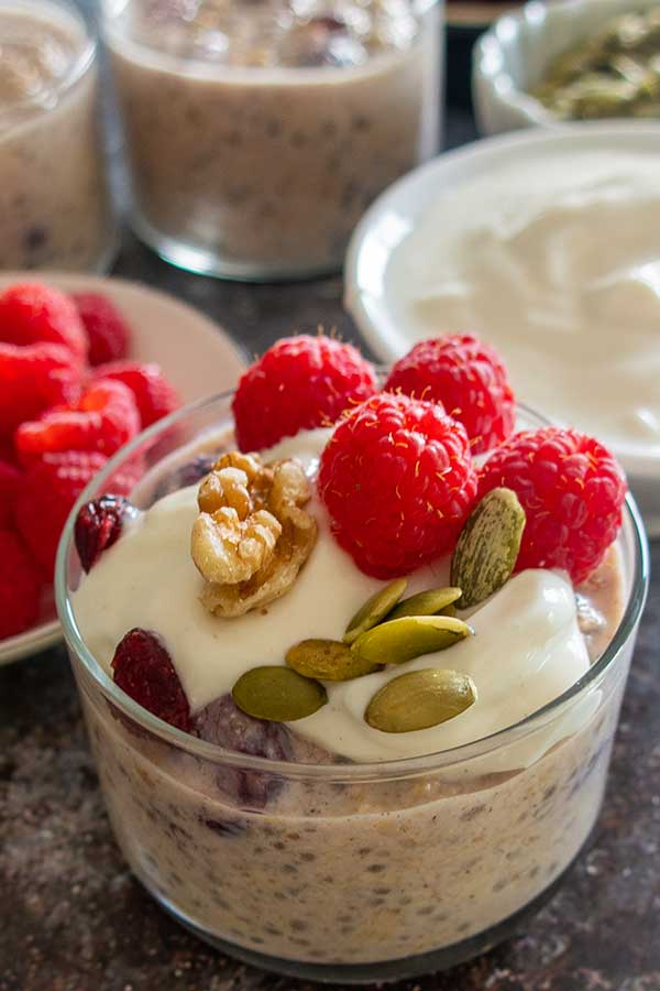 overnight oats with cranberries and walnuts