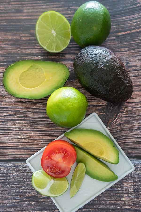 avocado, lime, tomato