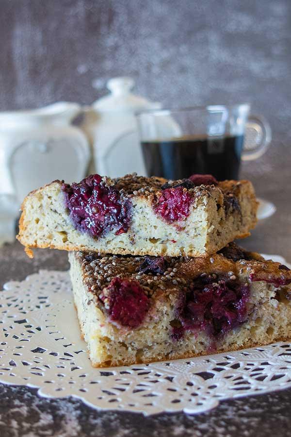 Gluten-Free Banana Coffee Cake with Berries