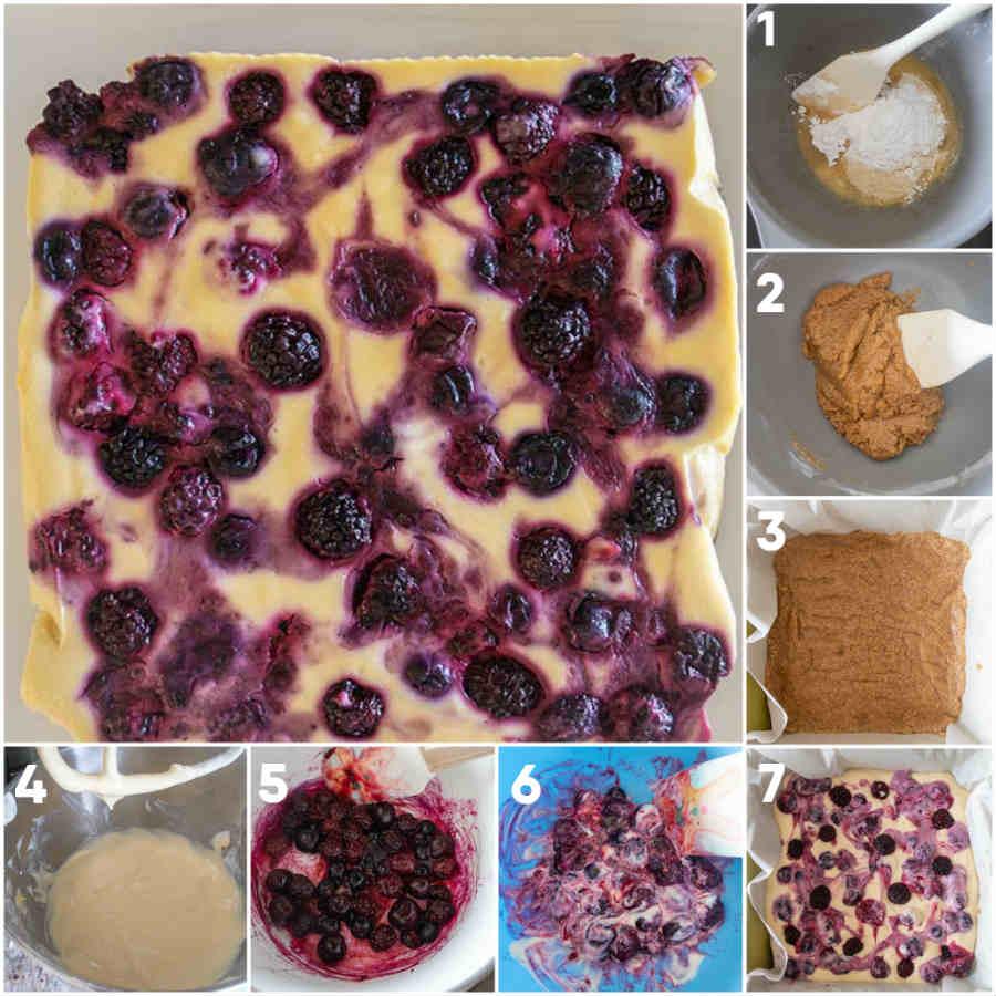 grain free cheesecake bars, berry