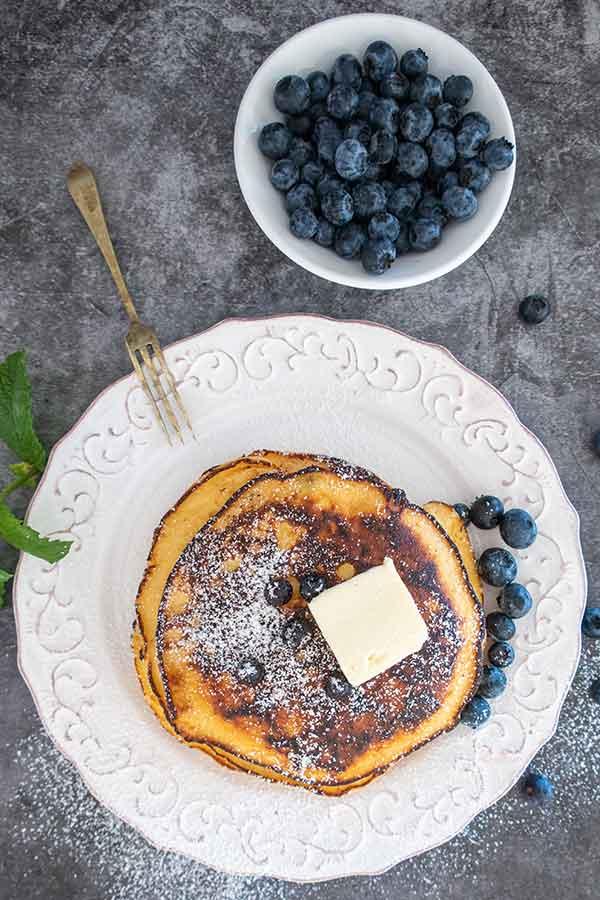 gluten-free blueberry maple pancakes