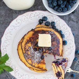 Blueberry Maple Coconut Flour Pancakes