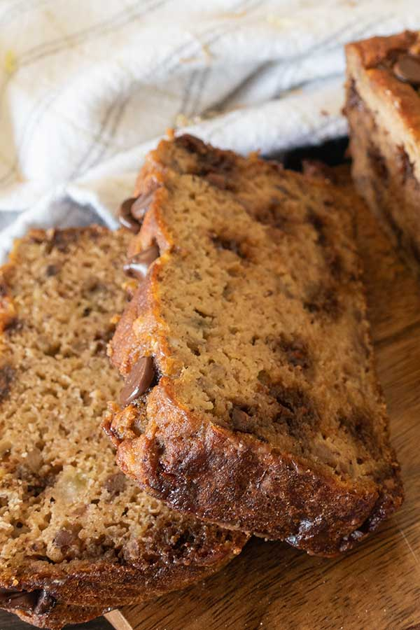 coconut flour banana bread with chocolate chips, gluten-free