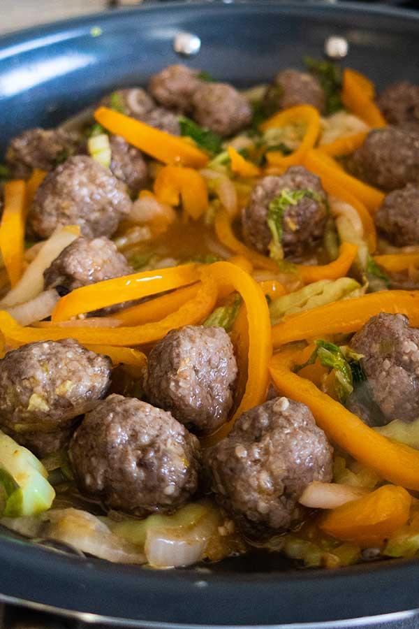 sesame meatballs and vegetables