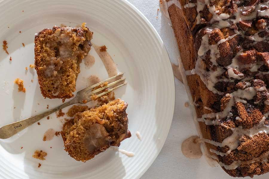 slice of apple fritter bread, gluten-free