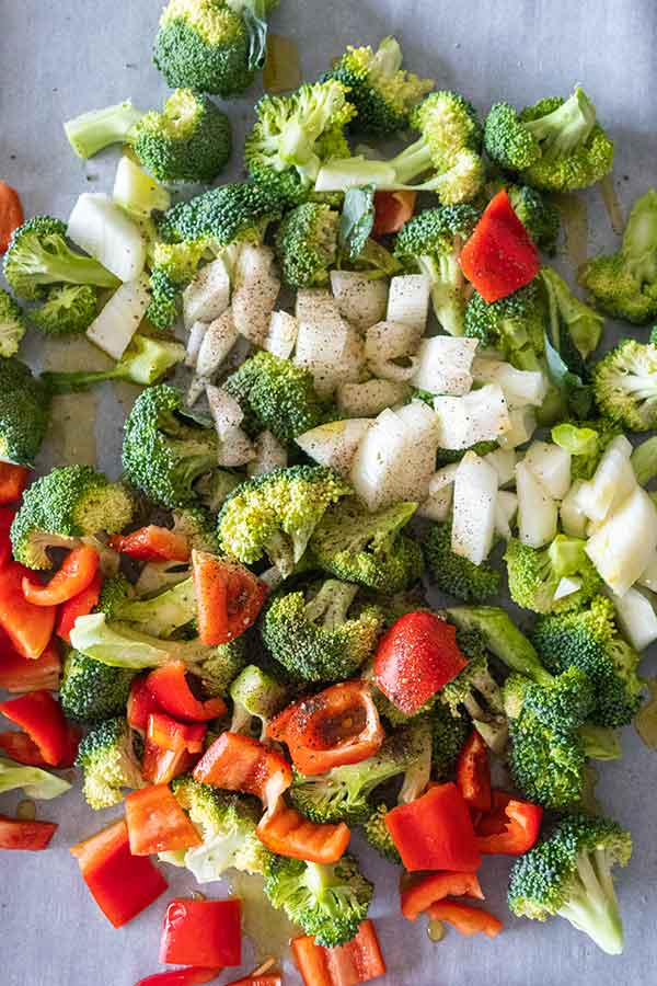 chopped broccoli onions and peppers
