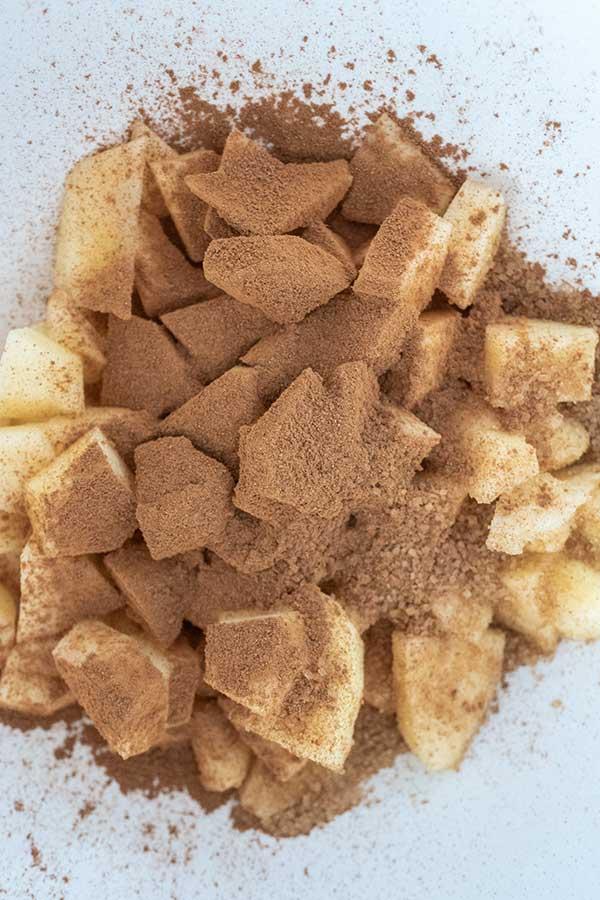 apple chunks with sugar and cinnamon